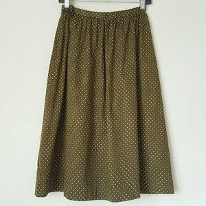 French polka dot midi full skirt